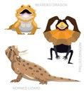 Lizard Dragon Set Cartoon Vector Illustration
