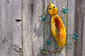 Lizard on fence decorative a wooden Royalty Free Stock Images