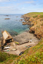 Lizard point cornwall uk is the southernmost of the united kingdom mainland Royalty Free Stock Images