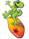 Lizard on surfboard Stock Photo