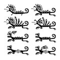 Lizards or dragons in native style, set of vector