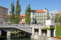 Ljubljana with a bridge and river Ljubljanica Royalty Free Stock Photo