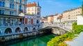 Ljubljana riverside beautiful view of the s Stock Image