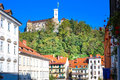 Ljubljana's castle with the midieval city center. Ljubljana Royalty Free Stock Photo