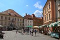 Ljubljana slovenia circa july tourists wander through t the old town in is the business and cultural Stock Photography