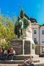 Preseren Statue is a late Historicist bronze statue of the Slovene national poet France Preseren