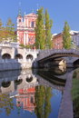 LJUBLJANA, SLOVENIA: Reflections of The Church of The Annunciation and the Triple Bridge in the river Ljubljanica Royalty Free Stock Photo