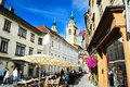 Ljubljana tourism slovenia september people at street cafe in old town of slovenia this year city is competing for the Royalty Free Stock Image