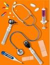 Läkarundersökningen levererar hjälpmedel Fotografering för Bildbyråer