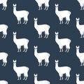 Llama in cateye glasses seamless pattern Royalty Free Stock Photo