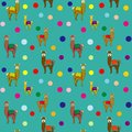Llama Polka Dots Repeat Seamless Pattern Vector