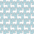 Llama seamless repeating pattern on blue background. Four colors vector illustration. Royalty Free Stock Photo