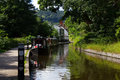 Llangollen canal view of the in the welsh countryside Royalty Free Stock Photo