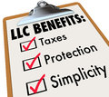 LLC Benefits List Taxes Legal Protection Simplicity Clipboard Ch Stock Photo