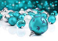 Llight blue christmas baubles Royalty Free Stock Photos