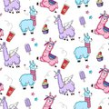 Lllama seamless pattern with cute llamas and doodles. Alpaca design for textile, prints etc.