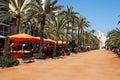 Lloret de Mar Costa Brava Spain spanish coast beach Catalonia travel sun city scene resort alley cafe sky palm palms tree trees Royalty Free Stock Photo
