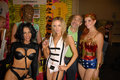 Lloyd kaufman paula labaredas phoebe price alicia arden as aeon flux as barbarella and as wonder woman celebritycosplay com Stock Image