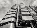 Lloyds of london black and white uk th june an upwards view part the building in Stock Photo
