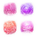 Llustrated icon set of beautiful floral symbols Royalty Free Stock Photography