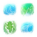 Llustrated icon set of waves an grass symbols Stock Photo