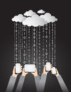 Llustration of clouds computing services illustration cloud raining data in form binary codes to smart phone and tablet these data Royalty Free Stock Image