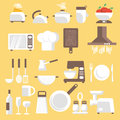 Llustration of kitchen tools ware and utensils vector illustration flat style for web analytics graphic design Royalty Free Stock Photo
