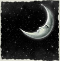 Llustration of a night sky with fantastic moon Royalty Free Stock Photo