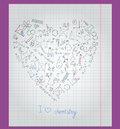 Llustration with notebook paper with icons on the theme of chemistry are arranged in the shape of a heart sheet cage painted Royalty Free Stock Images