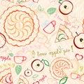 Línea art pattern de la empanada de apple Foto de archivo