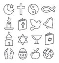 Línea iconos de la religión Imagen de archivo libre de regalías