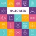 Línea sistema del vector de art modern halloween holiday icons Imagen de archivo libre de regalías