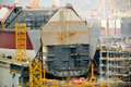 LNG tanker in shipyard Royalty Free Stock Photo