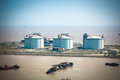 Lng tanks at the port in shanghai yangshan china Royalty Free Stock Photography