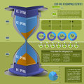 Load time infographics hourglass icons tracking business processes Royalty Free Stock Images