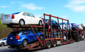 Loaded cars truck trailer with Stock Image