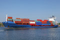 Loaded container ship on kiel canal Stock Images