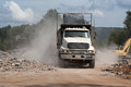 Loaded Dump Truck Leave Demolition Site Royalty Free Stock Photos