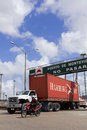 A loaded truck leaves Port in Montevideo, Uruguay. Stock Images
