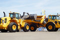 Loader and articulated hauler volvo moscow may at th international specialized exhibition of construction equipment Royalty Free Stock Photography