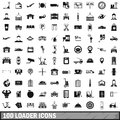 100 loader icons set, simple style