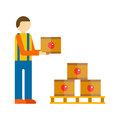 Loader man with boxes vector illustration.