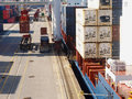 LOADING CONTAINERS ON HARBOUR Royalty Free Stock Photo