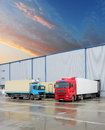 Loading docks in warehouse with truck Royalty Free Stock Photo