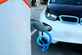 Loading energy of an electric car Royalty Free Stock Photo