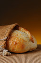 Loaf of Bread in Burlap Stock Image