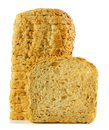 Loaf of bread with slice stacked single in front over white Stock Photography