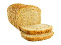 Loaf of bread sliced with toppled pieces over a white background Royalty Free Stock Photo