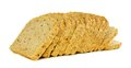 Loaf of bread toppling slices a over a white background Stock Photo