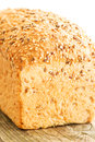 Loaf of bread on wooden table composition with Royalty Free Stock Image